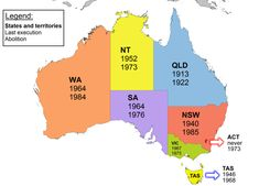 Here's some history for you: this map shows the year the last execution happened in each state, and the year capital punishment was abolished. 29 Maps Of Australia That Will Kinda Blow Your Mind Australian Slang, Australian Road Trip, Work In Australia, Australia Map, Western Australia, French Lessons, Spanish Lessons, Aussie Memes, European Map