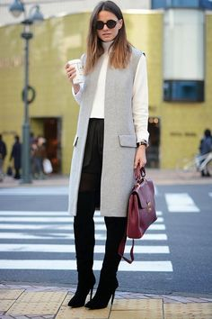 Mode Outfits, Office Outfits, Fall Winter Outfits, Fashion Outfits, Casual Outfits, Fashion Vest, Grey Fashion, Winter Clothes, Office Wear