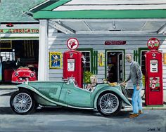 MG TC at the gas station by Loek Bakhuizen