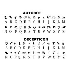 Cybertronian alphabet for both Autobots and Deceptions.
