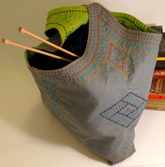 Sashiko Embroidered Reversible Tote Bag - Steel Grey and Lime Green