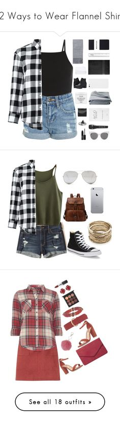 """12 Ways to Wear Flannel Shirts"" by polyvore-editorial ❤ liked on Polyvore featuring flannelshirts, waystowear, Golden Goose, Topshop, Whistles, Royal Velvet, JAG Zoeppritz, Steve Madden, Frette and Fresh"