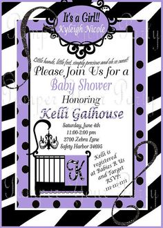 Zebra and Purple Baby Shower Invitation. Can be printed or sent in a digital file :)