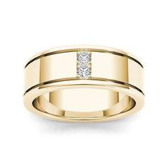 De Couer 14k Yellow Gold 1/2ct TDW Diamond Men's Classic Wedding Band #aliançasdecasamento #aliançadecasamento #alianças #casamento