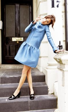absolutely perfect dress! (Alexa Chung in a blue Burberry dress.)