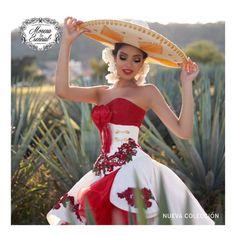 Mexican Theme Dresses, Quince Dresses Mexican, Mexican Wedding Dresses, Mexican Quinceanera Dresses, Quinceanera Ideas, Mariachi Quinceanera Dress, Charro Dresses, Vestido Charro, Christen