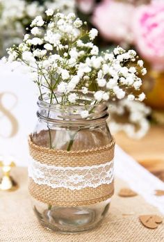 30 Chic Rustic Burlap & Lace Wedding Decor Ideas ❤ lace wedding decor ideas jars centerpiece za vedno shopn #weddingforward #wedding #bride