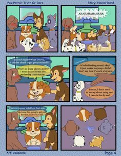 Paw Patrol Comic - Truth or Dare Pg 4 by kreazea on DeviantArt Truth Or Dare Stories, Los Paw Patrol, Light Up Hats, Furry Drawing, Dares, Scary, Pup, Pokemon, Fan Art