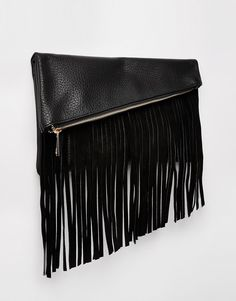 Image 2 of ASOS Clutch Bag With Suede Fringing