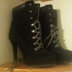 High heel, lace up booties Never worn, black, lace up booties Paprika Shoes Ankle Boots & Booties