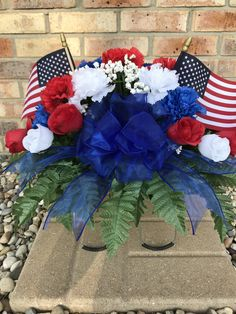 Your place to buy and sell all things handmade Grave Flowers, Cemetery Flowers, Funeral Flowers, Silk Flowers, Flower Arrangement, Floral Arrangements, Cemetery Decorations, Craft Items, 4th Of July Wreath