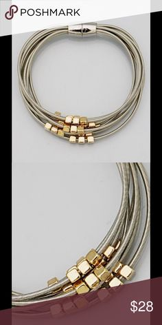 """Silver strands  with gold blocks bracelet Fashion Bracelet, easy to put on with magnetic closure. 8"""" Jewelry Bracelets"""