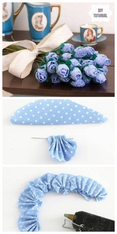 Fabric Roses Diy, Making Fabric Flowers, Fabric Flower Tutorial, Cloth Flowers, Paper Flowers Diy, Handmade Flowers, Flower Crafts, Flower Making, Fabric Crafts