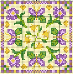 Cross-stitch Spring Biscornu chart... no color chart available, just use pattern chart as your color guide.. or choose your own colors...
