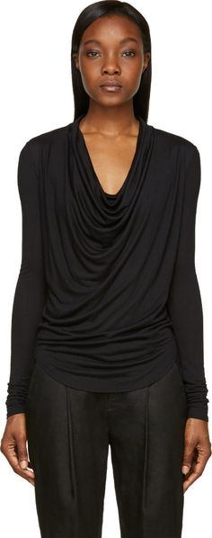 Helmut Lang Black Cowl Neck Kinetic T-Shirt