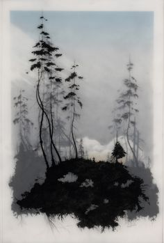 This artwork by Brooks Salzwedel is stunning! Made w/ tape, pencils, & resin, Salzwedel creates these eerie, gloomy pictures that are simply gorgeous. Unique Drawings, Cool Drawings, Drawing Sketches, Guache, Encaustic Art, Art Plastique, Tree Art, Land Scape, Art Paintings