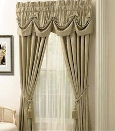 I think that thee color and design of these curtains makes the room look very elegant and pretty.
