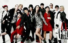 Glee cast: Kurt Hammel, Brittany Pierce, Blaine Anderson, Sam Evans, Mike Chang, Lauren Zizes, Rachel Berry, Finn Hudson, Tina Cohen-Chang, Noah Puckerman, Artie Abrams, Quinn Fabray.