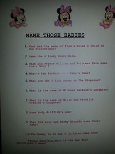 Name that baby, change some questions to make them relevant & change Minnie mouse but otherwise a great baby shower game. Baby Shower Fun, Baby Shower Gender Reveal, Shower Party, Baby Shower Parties, Baby Boy Shower, Shower Gifts, Baby Showers, Shower Favors, Fun Baby