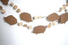 Hedgehogs and Circles Garland - brown and vintage book paper, custom colors available on Etsy, $9.50