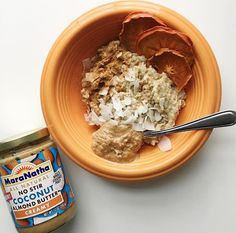 coconut almond oats with dried persimmons, cinnamon, coconut flakes & coconut almond butter