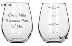 Every Mile Becomes Part of Me  Running Glass Set of 2 FREE Personalization