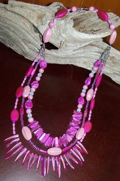 multistrand hot pink necklace
