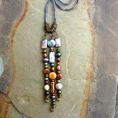 Jeweltone Pearl Tassel Necklace on Silk by StringerBs on Etsy