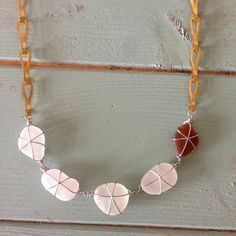 Beach shack Project - wire wrapped frosty white and brown sea glass and antique brass chandelier chain necklace