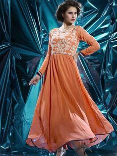 Incredible Anarkali Kurti Style In Orange Color