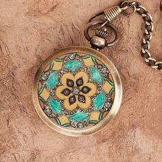 Steampunk Floral Inlay Pocket Watch