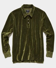 Velour Long Sleeve Polo in Olive - Todd Snyder