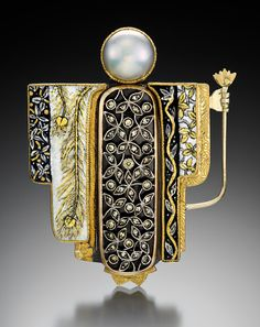 Marianne Hunter-  Kabuki Kachina In Autumn  Kabuki Kachina in Autumn     entrances the world     with her golden leaves     slow dancers a veil falling through          silvered nights.   Stones and Materials  Materials:  Enamel w/Foils Georgian Antique Pin:   14Kt, Sterling, Diamond, 1 5pt Yellow Diamond