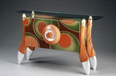 "Wood, Brent Skidmore, Artist, ""Mr. Olive's Martini Bar"", 2001, Mahogany, Birch, Glass, Brass, 34""x54""x15"" courtesy of http://dailyartmuse.com/"