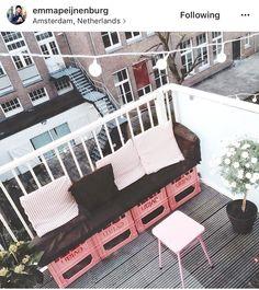 Evian bottle crates balcony bench
