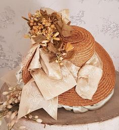 ~~~ Stunning French Bebe Silk Costume with Antique Straw Hat ~~~ from whendreamscometrue on Ruby Lane
