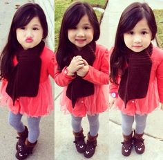 Little girl with coral dress and cardigan with grey leggings and brown deer boots. Little Girl Outfits, Little Girl Fashion, My Little Girl, Kids Outfits, Kids Fashion, Kid Swag, Baby Swag, Half Asian Babies, Maroon Scarf