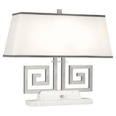 Robert Abbey Jonathan Adler Mykonos Two-Light Table Lamp in Polished Nickel - Polished, Traditional Jonathan Adler, Mykonos, Robert Abbey Lighting, Clear Light Bulbs, Black Lamps, Fabric Shades, Light Table, White Marble, Polished Nickel