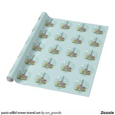 paris eiffel tower travel art wrapping paper