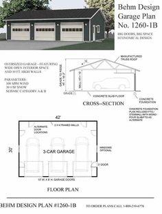 Over-sized Three Car Garage Plans - 1260-1B by Behm Design