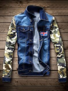 $32.25 Single Breasted Camouflage Flag Pattern Denim Jacket