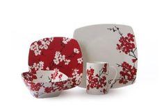Amazon.com: 222 Fifth Mia Blossoms Square Dinnerware Set, Red, 16-Piece: Kitchen & Dining