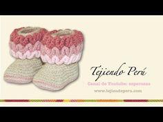 Botas con ondas para bebés tejidas en wiggle crochet (wiggle crochet baby booties): Parte 1 - YouTube