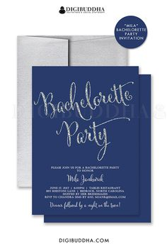 Navy blue and silver glitter bachelorette party invitation.  Personalized with your information, choose from ready made printed invitations with envelopes or printable DIY bachelorette party invitations.  Silver shimmer envelope and coordinating envelope liners also available.  digibuddha.com