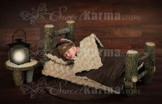 Log Newborn Bed with Wood Background Many by SweetkarmaStore