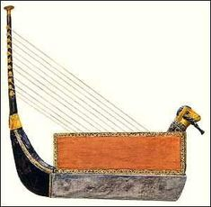 Royal Harp: found in the Tombs of Ur.  A harp is different from a lyre in tone and structure.  Its believed that the idea for a harp came from the sound that a bowstring makes when the string is plucked.