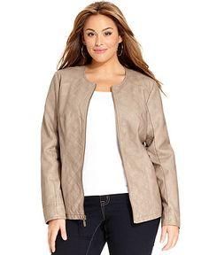 Alfani Plus Size Jacket, Quilted Faux-Leather - Plus Size Jackets & Blazers - Plus Sizes - Macy's