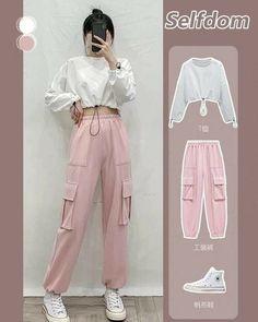 Korean Girl Fashion, Korean Fashion Trends, Ulzzang Fashion, Kpop Fashion Outfits, Girls Fashion Clothes, Korean Street Fashion Summer, Korean Airport Fashion, Kpop Clothes, Pink Clothes