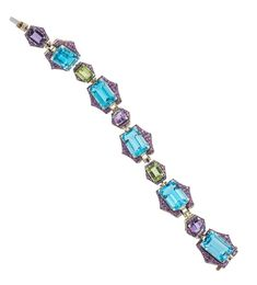 Shop for Goshwara Blue Topaz, Peridot & Amethyst Bracelet on Pietra. Peridot And Amethyst, Amethyst Bracelet, Pink Sapphire, Blue Topaz, Jewels, Stone, Yellow, Bracelets, Gold