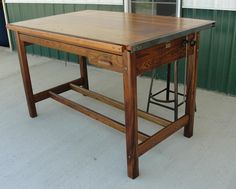 Vintage Industrial Hamilton Drafting Table Kitchen Island from ...